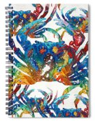 Colorful Crab Collage Art By Sharon Cummings Spiral Notebook