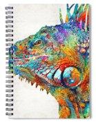 Colorful Iguana Art - One Cool Dude - Sharon Cummings Spiral Notebook