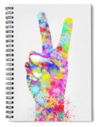 Colorful Painting Of Hand Point Two Finger Spiral Notebook