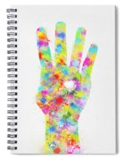 Colorful Painting Of Hand Pointing Four Finger Spiral Notebook