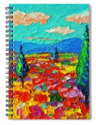 Colorful Poppies Field Abstract Landscape Impressionist Palette Knife Painting By Ana Maria Edulescu Spiral Notebook
