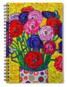 Colorful Ranunculus Flowers In Polka Dots Vase Palette Knife Oil Painting By Ana Maria Edulescu Spiral Notebook