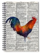Colorful Rooster On Vintage Dictionary Spiral Notebook