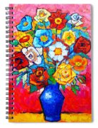 Colorful Roses And Camellias - Abstract Bouquet Of Flowers Spiral Notebook