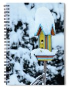 Colorful Wooden Birdhouse In The Snow Spiral Notebook