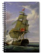 Combat Between The French Frigate La Canonniere And The English Vessel The Tremendous Spiral Notebook