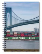 Container Ship Passing The Verrazano Bridge Spiral Notebook