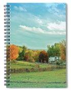 Cool Blue Autumn Farm Spiral Notebook