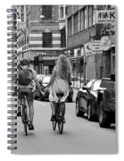Copenhagen Lovers On Bicycles Bw Spiral Notebook
