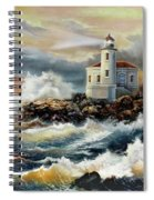 Coquille River Lighthouse At Hightide Spiral Notebook