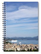 Corfu Town And Port With Cruiser Cityscape Spiral Notebook