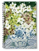 Cosmos And Hydrangeas In A Chinese Vase Spiral Notebook