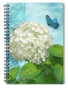 Cottage Garden White Hydrangea With Blue Butterfly Spiral Notebook