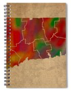 Counties Of Connecticut Colorful Vibrant Watercolor State Map On Old Canvas Spiral Notebook