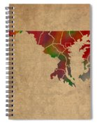 Counties Of Maryland Colorful Vibrant Watercolor State Map On Old Canvas Spiral Notebook