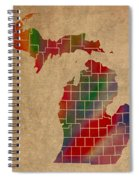 Counties Of Michigan Colorful Vibrant Watercolor State Map On Old Canvas Spiral Notebook