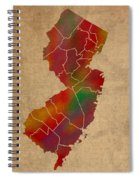 Counties Of New Jersey Colorful Vibrant Watercolor State Map On Old Canvas Spiral Notebook