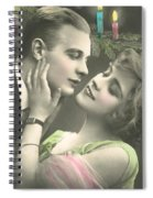 Couple About To Kiss In Front Of Christmas Tree Spiral Notebook