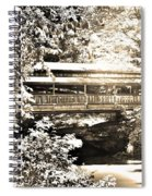 Covered Bridge At Lanterman's Mill Black And White Spiral Notebook