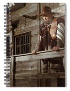 Cowboy Waiting Outside Of A Bank Building Spiral Notebook