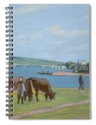 Cows On The Banks Of The Seine At Saint Mammes Spiral Notebook