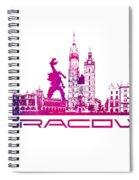 Cracow City Skyline Purple Spiral Notebook