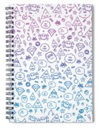 Crazy And Cute Monster Patter In Blue Pink Spiral Notebook