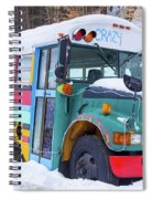 Crazy Painted Old School Bus In The Snow Spiral Notebook