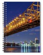 Crescent City Bridge, New Orleans, Version 2 Spiral Notebook
