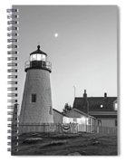 Crescent Moon Over The Pemaquid Point Lighthouse Pemaquid Me Black And White Spiral Notebook