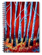 Crimson Birch Trees Spiral Notebook