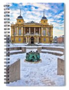 Croatian National Theater In Zagreb Winter View Spiral Notebook