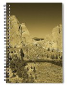 Crooked River At Smith Rock State Park Sepia Spiral Notebook