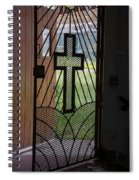 Cross On Church Door Open To Prison Yard Fence With Razor Wire Spiral Notebook