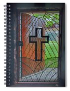 Cross On Church Door Open To Prison Yard With Light Spiral Notebook