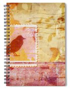 Crow In Orange And Pink Spiral Notebook