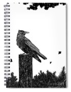 Crow On Fence Post Spiral Notebook