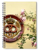 Crowned Pretzel Sign With Roses Spiral Notebook
