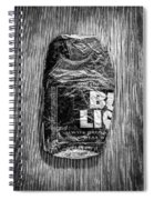 Crushed Blue Beer Can On Plywood 78 In Bw Spiral Notebook