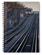 Cta Train Approaching Damen Avenue Station Chicago Illinois Spiral Notebook