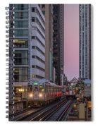Cta Train On The L At Dusk Chicago Illinois Spiral Notebook