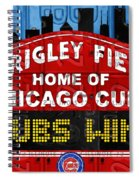 Cubs Win Wrigley Field Chicago Illinois Recycled Vintage License Plate Baseball Team Art Spiral Notebook
