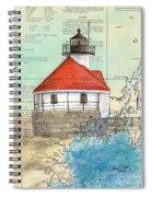Cuckolds Lighthouse Me Nautical Chart Map Spiral Notebook