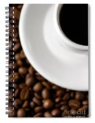 Cup Of Black Coffee On Coffee Beans Spiral Notebook