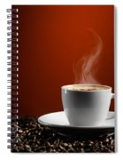Cup Of Coffe Latte On Coffee Beans Spiral Notebook