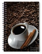 Cup Of Coffe On Coffee Beans Spiral Notebook