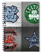 Custom 4 Team License Plates Sport Art No 1 Spiral Notebook