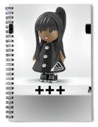 Cute 3d Girl On Shelf In Black Spiral Notebook