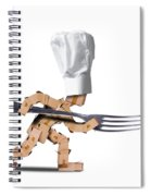 Cute Chef Box Character With Big Fork Spiral Notebook
