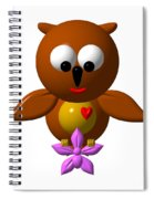 Cute Owl With Orchid Spiral Notebook